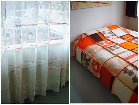 Patchwork blanket exposed seams